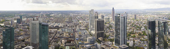Panorama of downtown skyline Frankfurt Stock Photography