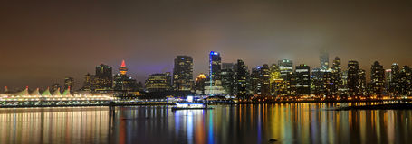 Panorama of Downtown Vancouver(New Year's Eve) Royalty Free Stock Photos