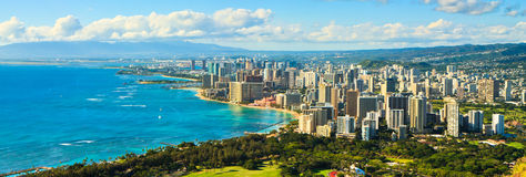 Panorama, Downtown Waikiki, Oahu, Hawaii Royalty Free Stock Photo