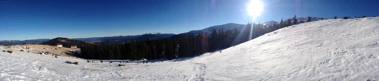 Panorama of Dragobrat ski area from karpathians mountains Stock Photography
