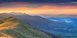 Panorama of the dramatic autumn sunset Stock Image