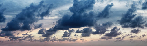 Panorama of dramatic cloudy sky Royalty Free Stock Image