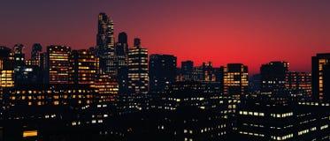 Panorama drapacze chmur wieżowowie Zdjęcia Royalty Free