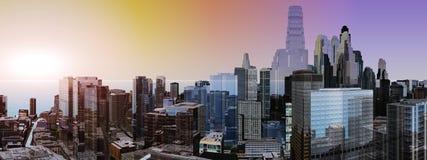 Panorama drapacze chmur wieżowowie Zdjęcia Stock