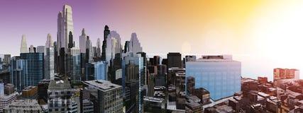 Panorama drapacze chmur wieżowowie Obrazy Stock