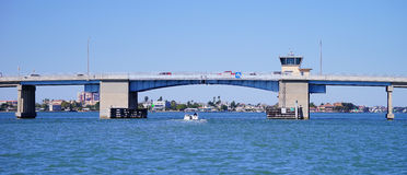 Panorama of a Draw bridge at tampa bay Stock Image