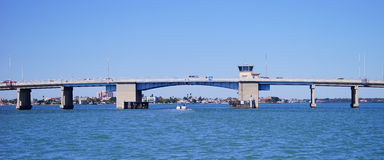 Panorama of a Draw bridge at tampa bay Royalty Free Stock Photos