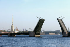Panorama of the drawn Palace Bridge in St. Petersburg Stock Photos