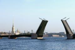 Panorama of the drawn Palace Bridge in St. Petersburg Stock Photos