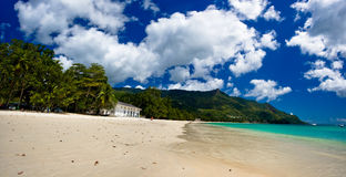 Panorama of a dream beach. At Seychelles Stock Photos