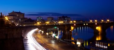 Panorama of Dresden. A night view of the city of Dresden in Germany royalty free stock photo