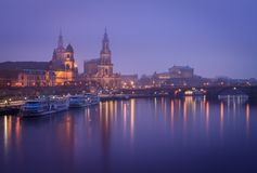 Panorama of Dresden during blue hour stock photo
