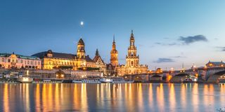 Lovely Dresden at Night. Panorama of Dresden at Night - Germany Stock Images