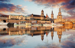 Panorama of Dresden Old Town over the Elbe River Royalty Free Stock Photography
