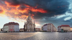 Panorama of Dresden at sunrise, Frauenkirche, Time lapse stock footage