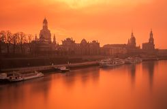Panorama of Dresden during winter sunset royalty free stock photo