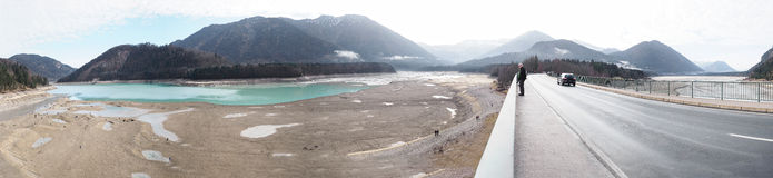 Panorama of dried out lake - Sylvenstein, south of Bavaria, Germany. Panorama of dried out Sylvensteinsee in the alps  (south of Bavaria, Germany Stock Photography
