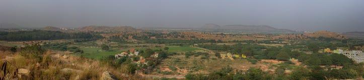 Panorama droog struikgewas van Bush in India stock foto