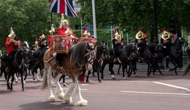 Panorama of drum horse with rider, with Household Cavalry behind, taking part in the Trooping the Colour parade. Panorama of drum horse with rider, with stock photo