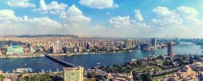 Panorama du Caire, vue sur le Nil et le centre ville, Egypte photos libres de droits