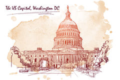 Panorama du capitol des USA Croquis sur la tache grunge Illustration du vecteur EPS10 illustration libre de droits