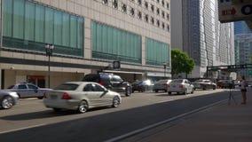 Panorama du centre 4k la Floride Etats-Unis de rue du trafic d'été de coucher du soleil banque de vidéos