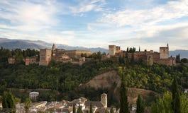 Panorama du château d'Alhambra Image stock