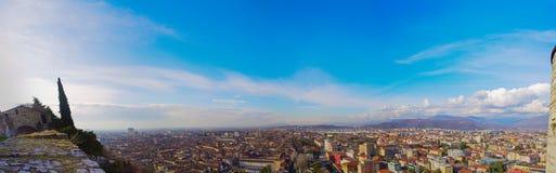 Panorama du château de Brescia, Italie Photographie stock