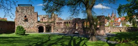 Panorama du château du Palatinat de Gelnhausen Photographie stock libre de droits