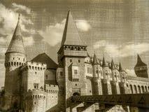 Panorama du château du ` s de Corvin dans Hunedoara photo libre de droits