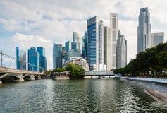 Panorama du district des affaires central de Singapour (CBD) Photos stock