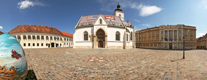 Panorama du grand dos du repère de rue à Zagreb, Croatie photos stock