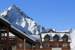 Panorama du Hils et des hôtels, Les Deux Alpes, France, française Photographie stock