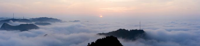 Panorama du lever de soleil Photo stock