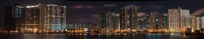 Panorama du Macao la nuit Images stock