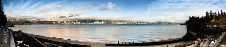 Panorama du nord de rivage de Vancouver Images libres de droits