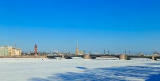 Panorama du pont de palais à St Petersburg Image libre de droits