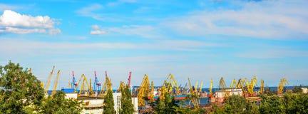Panorama du port d'Odessa Image stock