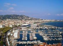 Panorama du port de Cannes Photos stock