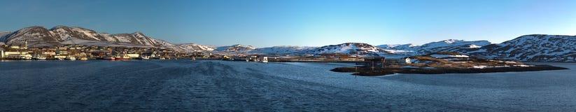 Panorama du port norvégien Images libres de droits