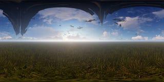 panorama du rendu 3d avec les bateaux étrangers de vol Image libre de droits