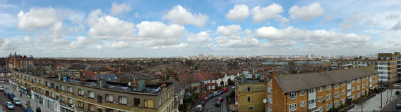 Panorama du sud de Londres - de Brixton Images libres de droits