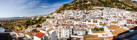 Panorama du village blanc de Mijas Photo libre de droits