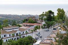 Panorama du village blanc de Mijas Costa del Sol, Andalousie l'espagne Image stock
