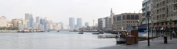 Panorama of the Dubai Creek Royalty Free Stock Images