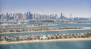 Panorama of Dubai Marina, UAE. Panoramic view of Dubai from Palm Island Royalty Free Stock Photography