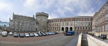 Panorama Dublin Castle - historic landmark of. Dublin, Ireland - August 20, 2014: Panorama Dublin Castle - historic landmark of Irelands capital Stock Photo