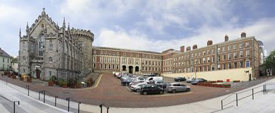 Panorama Dublin Castle - historic landmark of. Dublin, Ireland - August 20, 2014: Panorama Dublin Castle - historic landmark of Irelands capital Royalty Free Stock Photo