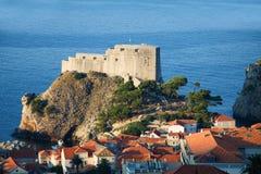 Panorama of Dubrovnik in Croatia. At sunrise, travel background stock photo