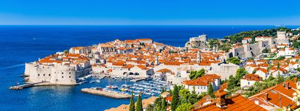 Panorama of Dubrovnik in Croatia. The old city of Dubrovnik in Croatia, adriatic pearl stock photos